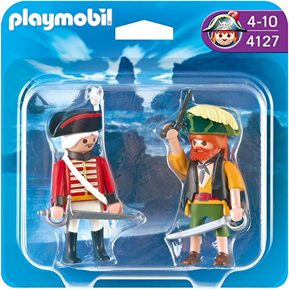 PLAYMOBIL - Pack de 2 Figuras Pirata y Soldado (4127): Amazon.es ...