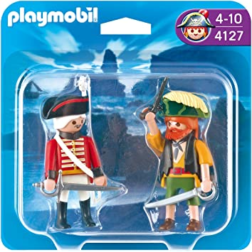 PLAYMOBIL - Pack de 2 Figuras Pirata y Soldado (4127): Amazon.es ...