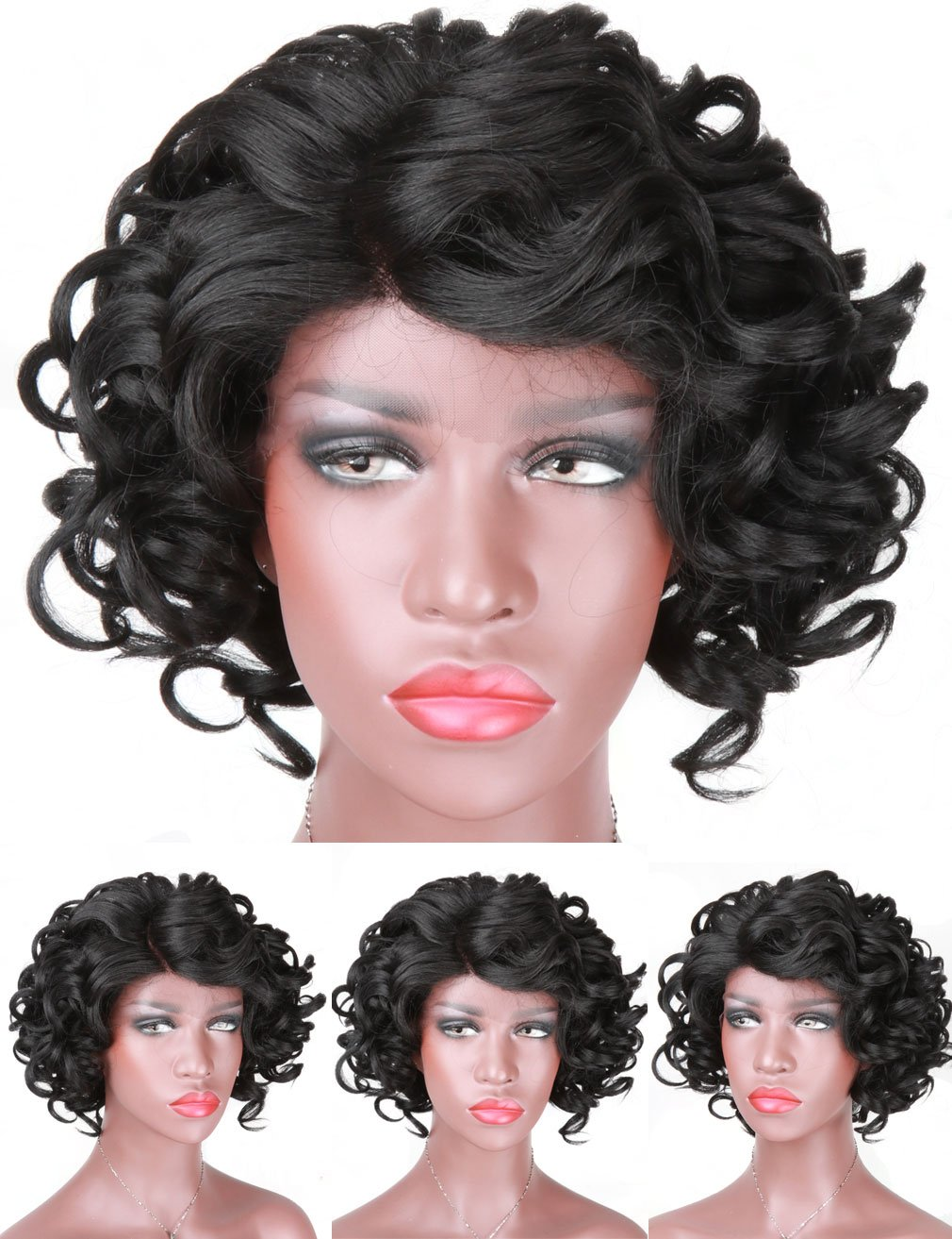 Short Curly Wave Synthetic Lace Front Wigs - Natural looking L Part 1B Color Heat Resistant Hair Replacement Wigs