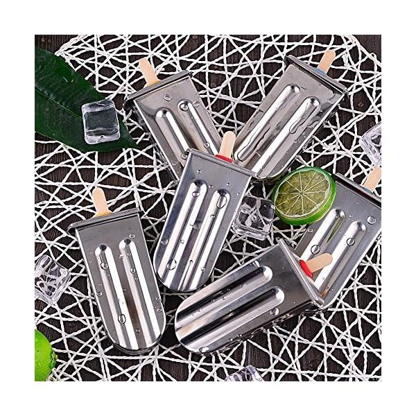 Stampo per ghiaccioli in acciaio INOX con base di supporto per bastone da freezer set di 6 5 spesavip