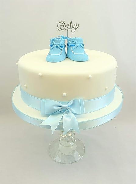 Baby Shower, bautizo bebé brillantes, Claydough decoración para tarta para bebé, patucos lazo