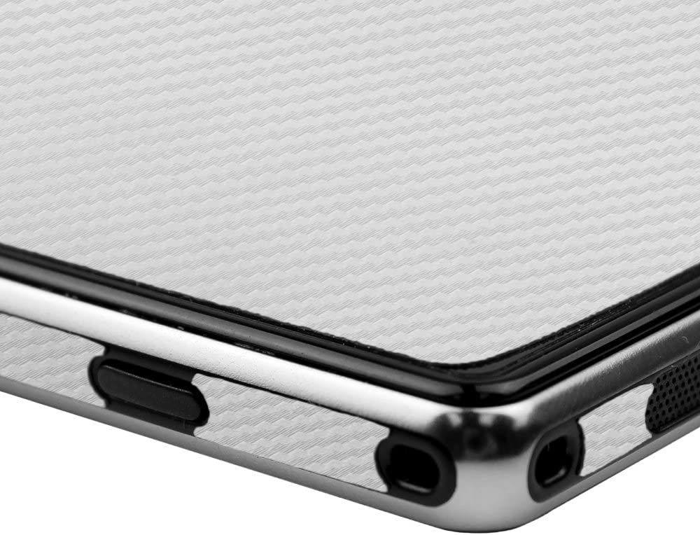 Skinomi Silver Carbon Fiber Full Body Skin Compatible with Sony Xperia Z1S TechSkin with Anti-Bubble Clear Film Screen Protector Full Coverage