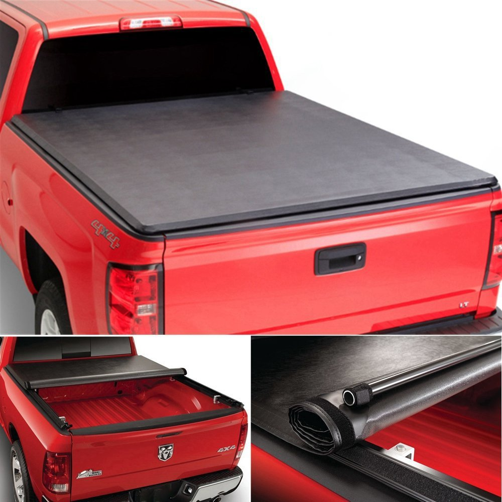 Galaxy Auto Soft Roll-Up for 2015-18 Ford F150 5.5' Bed (Styleside Models Only) - Black Roll Up Truck Bed Tonneau Cover