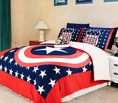 Luk Oil Captain America Bedding Sets 3 Piece Childrenu0027s Duvet Cover Set  Single Bed Sheets