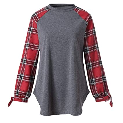 f77582d2fca Amazon.com  Red and Black Buffalo Plaid Shirts for Women Plus Size T-Shirt  Casual Loose Long Sleeve Tunic Tops Blouses  Clothing