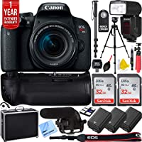 Canon EOS Rebel T7i Digital SLR Camera with EF-S 18-55mm is STM Lens Triple Battery & Battery Grip Complete Video Recording Bundle - 2018 Beach Camera 24 Piece Value Bundle