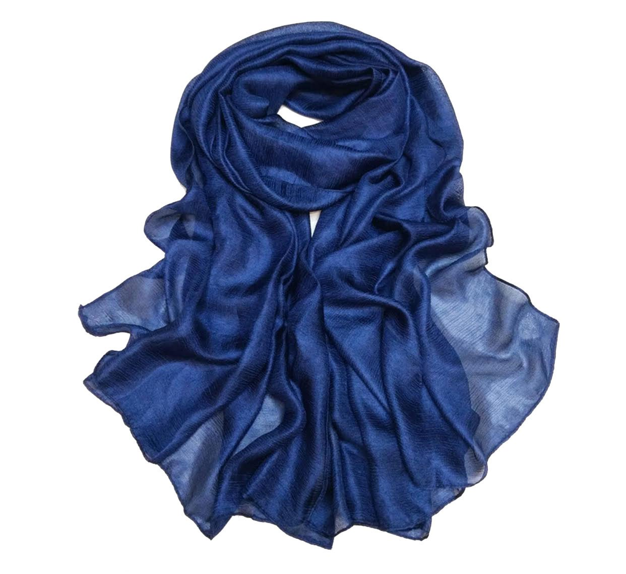 Luxury Silky shimmer Lightweight Solid Color Fashion scarves Hijab For Women (Blue)
