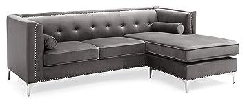 Amazon.com: Glory Furniture Capua , Dark Gray Sofa Chaise ...