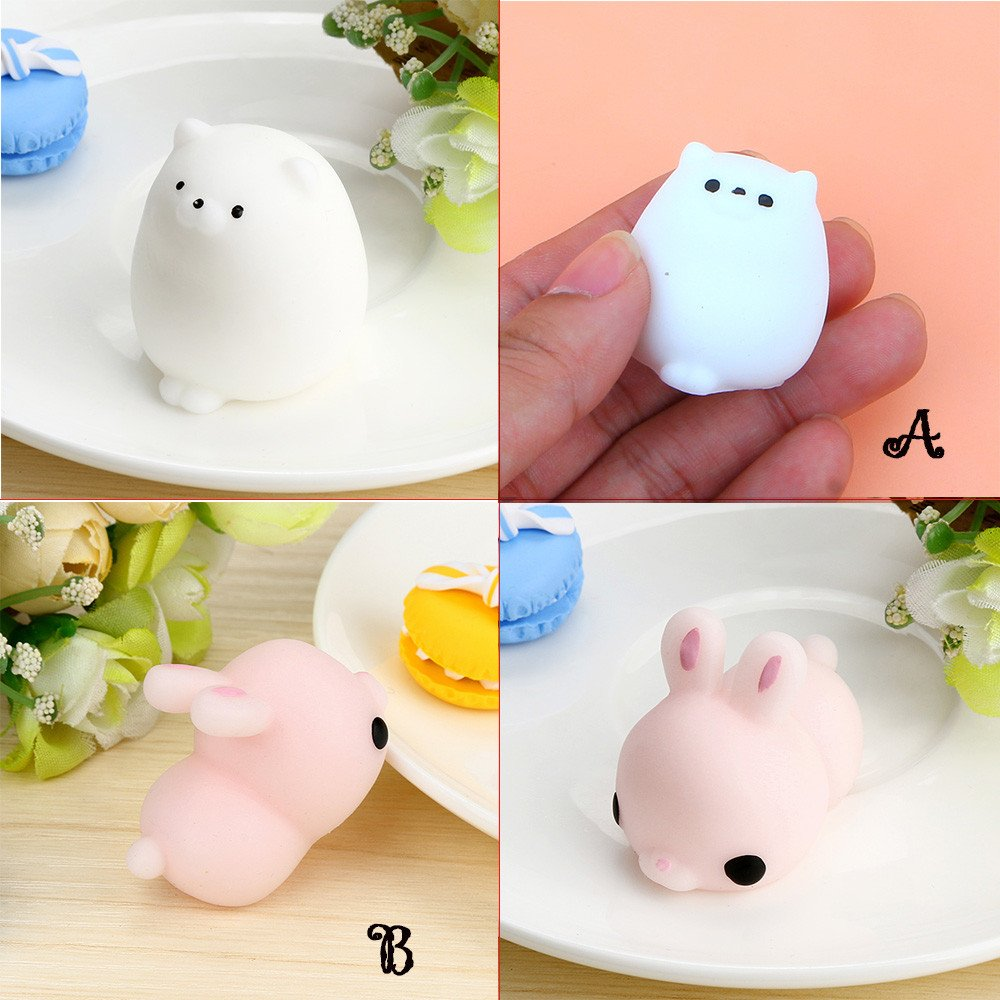 Kawaii Slow Soft Rising Squishy Squeezen Dingding Cute Mini Cat Fidget Toy Stress Reliever Kids Toy Gift Raptop (B1)