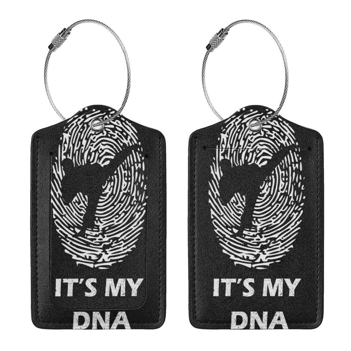GoldK Finger DNA Taekwondo Leather Luggage Tags Baggage Bag Instrument Tag Travel Labels Accessories with Privacy Cover