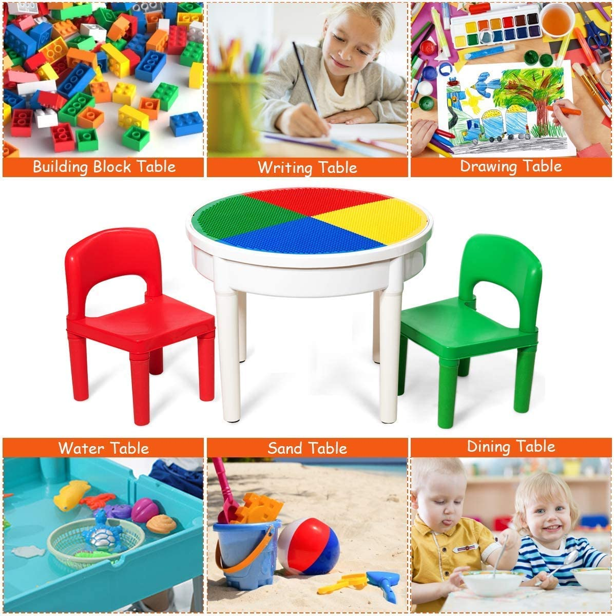 pour Enfants de Plus de 3 Ans COSTWAY Table de Construction Ronde 3 en 1 Ensemble de Table de Jeu pour Enfants Comprenant 2 Chaises et 300 Petits Blocs Multicolore