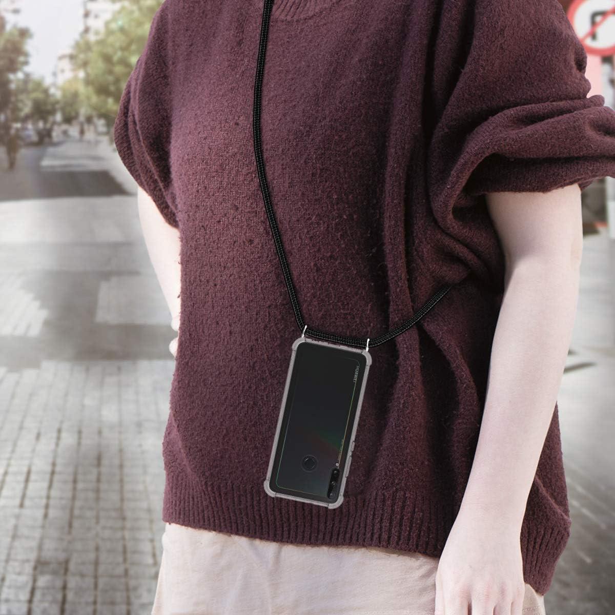 Moda y Practico XTCASE Funda con Cuerda para Huawei P40 Lite E Silicona Transparente Anti-rasgu/ños Anti-Choque Ultrafina Suave TPU Carcasa de movil con Colgante - Negro