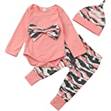 Baby Clothes Set, PPBUY Toddler Girls Camouflage Bow Tops + Pants 3pcs Outfits Set (0-6M, Pink B)
