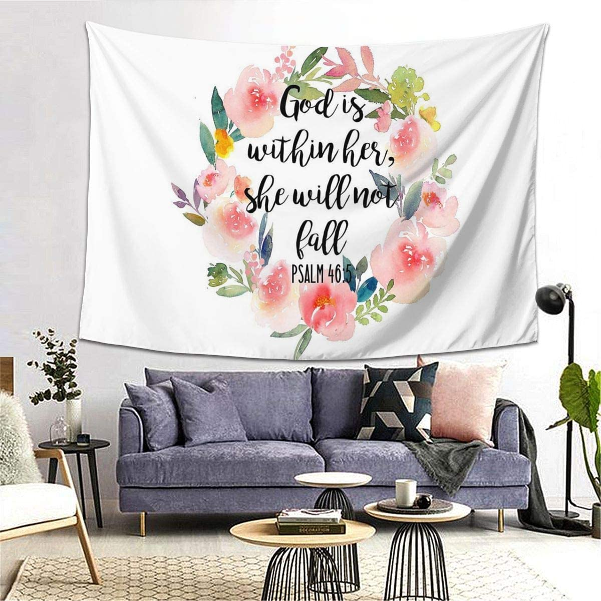 Amazon Com Marrtly Bible Verses God Is Within Her She Will Not Fall Psalm 46 Tapestry Wall Hanging Decorative Wall Art Tapestries For Bedroom Living Room Home Decoration 80 X60 Inches Home Kitchen