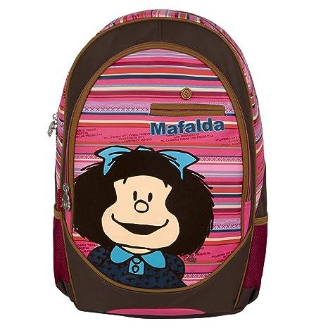 0d786209390040 Chenson Mochila Escolar Grande Juvenil Femenino Color café con Rosa Linea  Mafalda: Amazon.com.mx