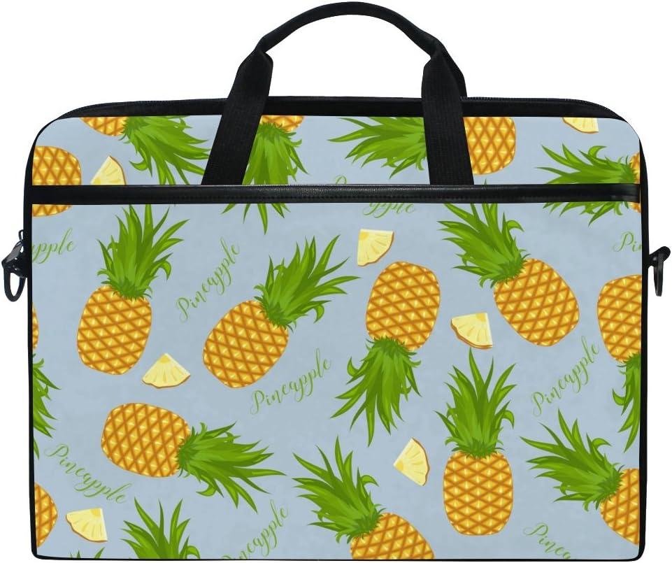 JSTEL Pineapples and Slices Laptop Shoulder Messenger Bag Case Sleeve for 14 inch to 15.6 inch with Adjustable Notebook Shoulder Strap