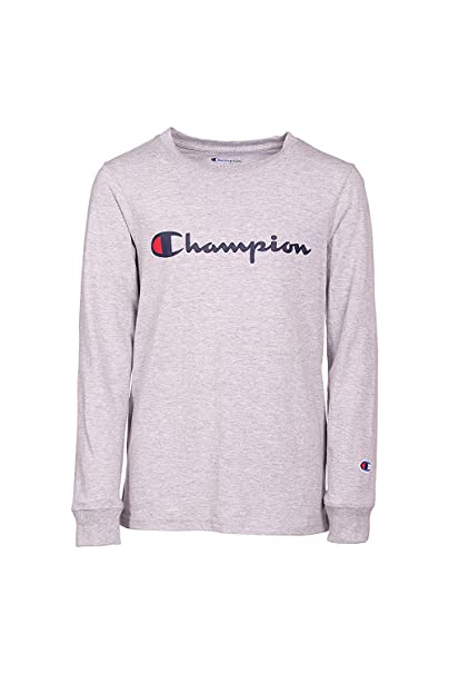 7a7de06db Champion Boys Heritage Long Sleeve Script Logo Tee Shirt Kids (Small,  Oxford Heather)