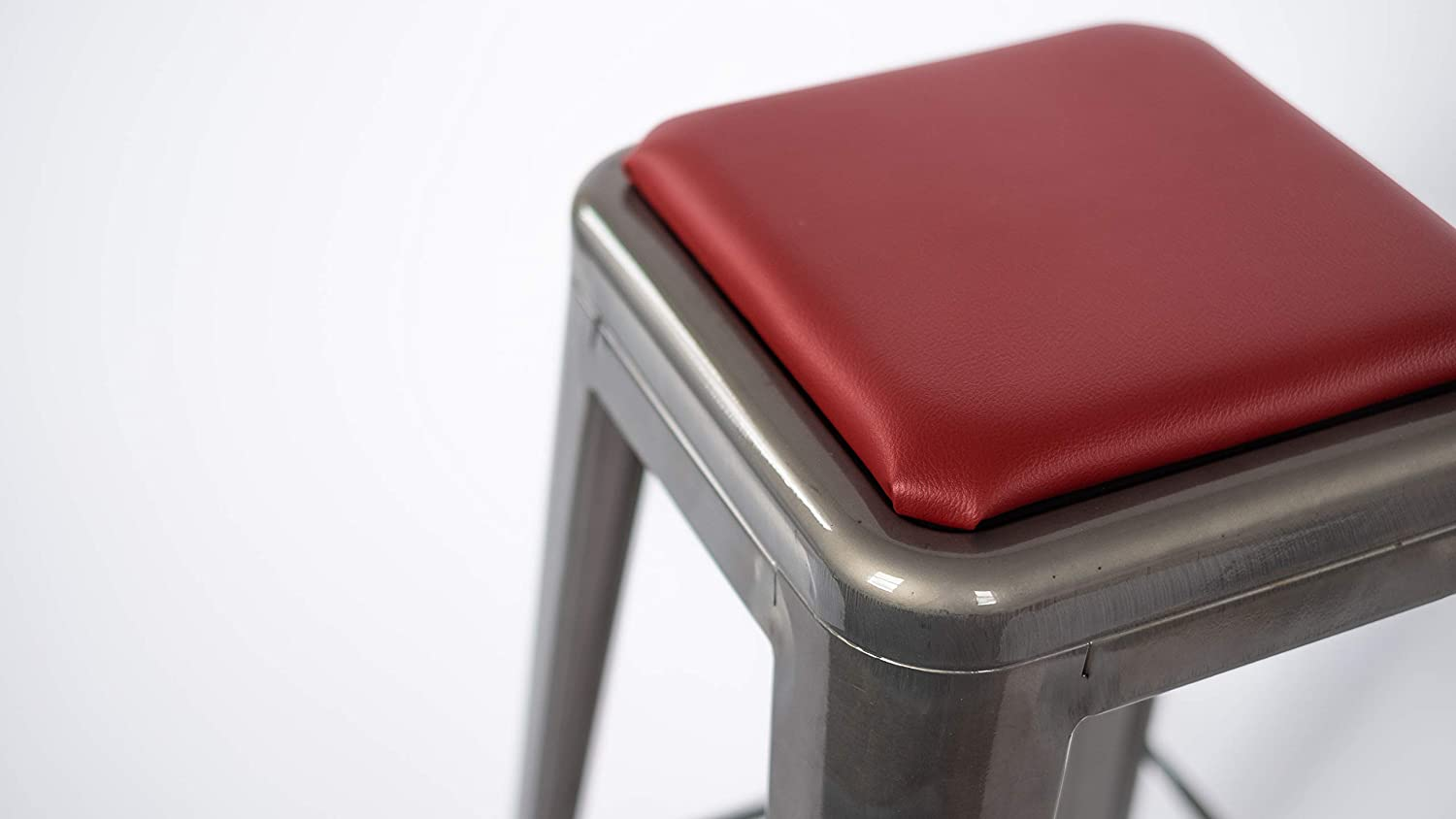 Square Stool Cushion for Tolix and Similar Stackable stools (Red)