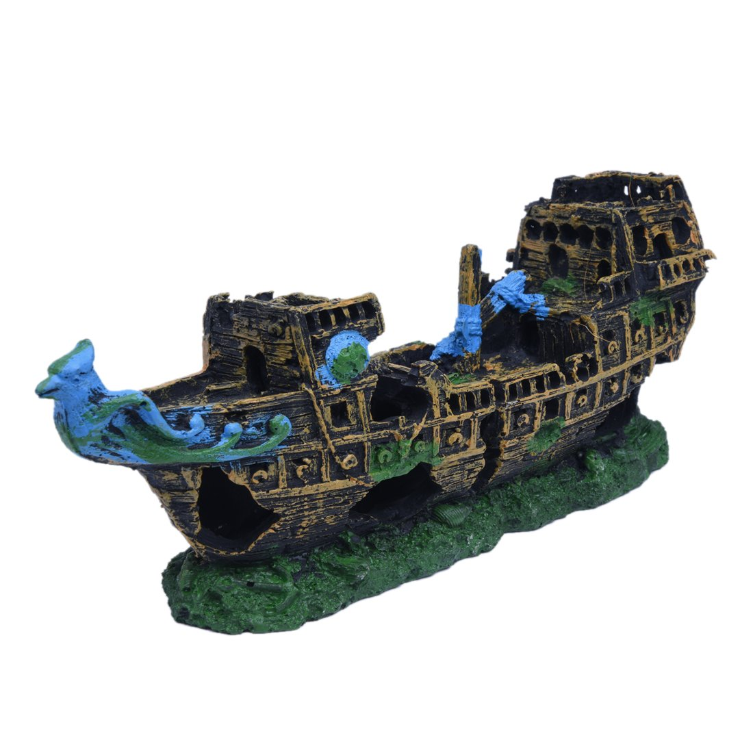 Decoration navire - SODIAL(R)Wreck Aquarium deco cruise ship shipwreck fish resin 24x9.5x6.5cm