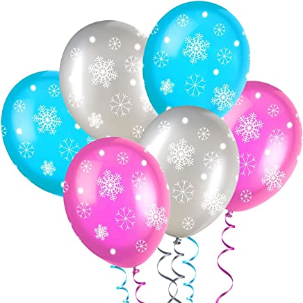 """Blue/Pink/Silver Sparkles and Snowflakes 11"""" Latex Balloons 6 in Each Pack - Inspired By Disney's Frozen Kids Party - Ideal for Birthday's, Wedding's, Christening, Baby Showers, Special Celebrations (12 Mixed Snowflake Balloons)"""