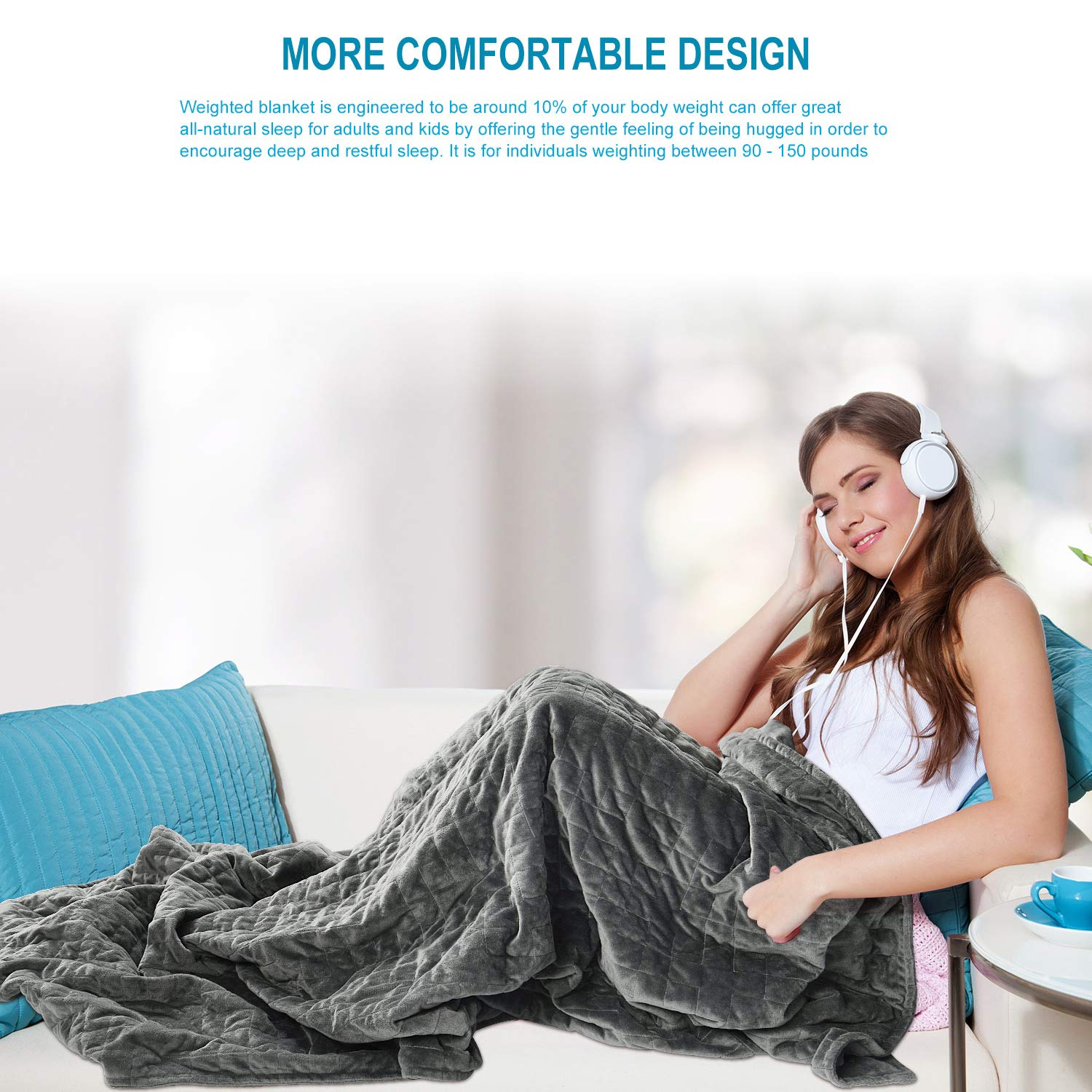 2 in 1 15lbs Weighted Blanket 48x72 Inch Gravity Heavy Blanket for Adult Comes with Supper Soft Removable Cover