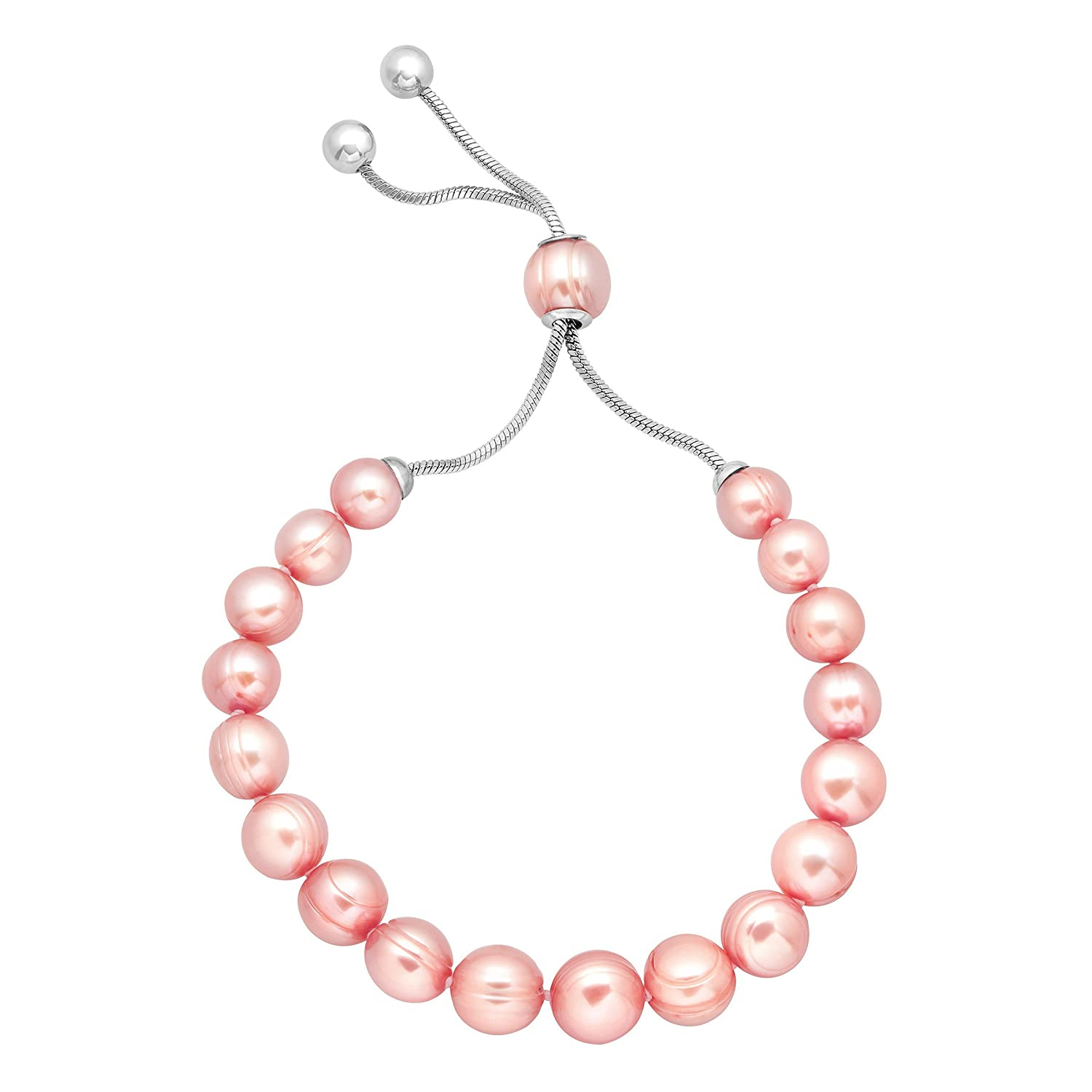 Honora 7-10 mm Freshwater Rose Cultured Pearl Bead Bracelet with Slider in Stainless Steel Richline Group ZB9109SRS95