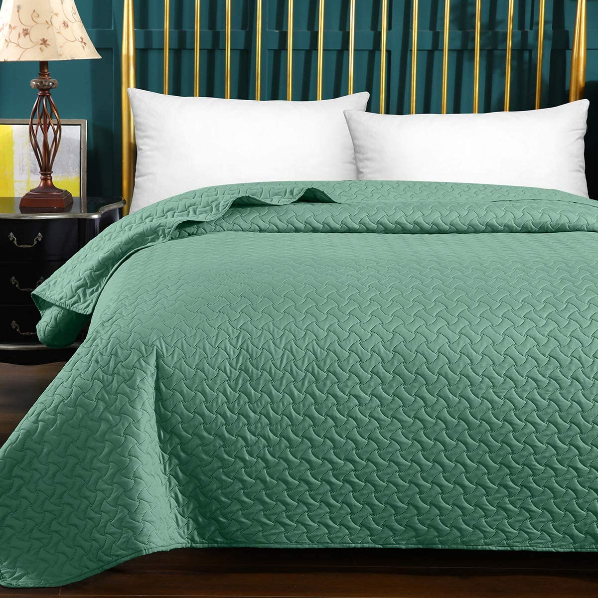 HollyHOME Luxury Checkered Super Soft Solid Single Pinsonic Quilted Bed Quilt Bedspread Bed Cover Twin Blue