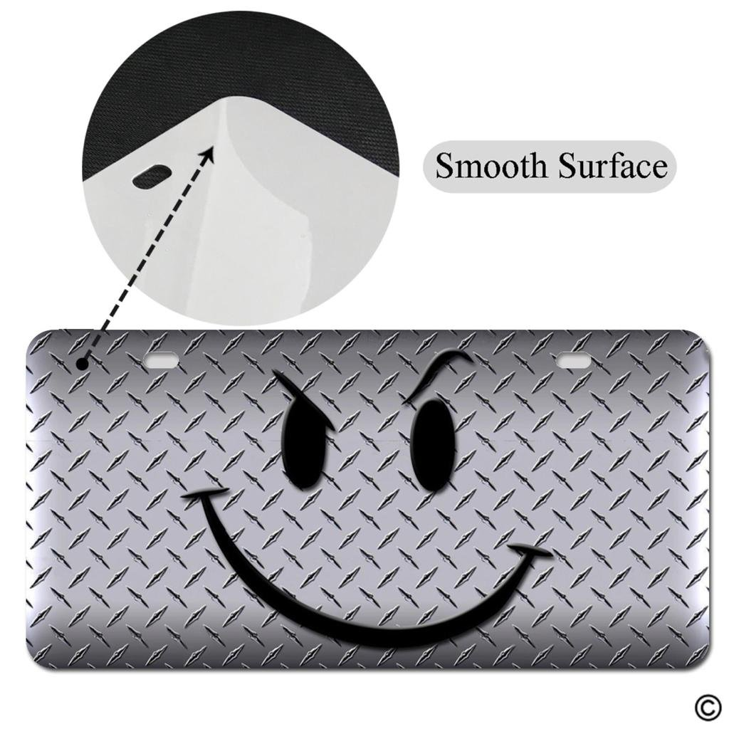 MsMr Funny License Plate Cover with 2 Holes Smiley Face Emoji Designed Decorative Metal Car License Plate Auto Tag