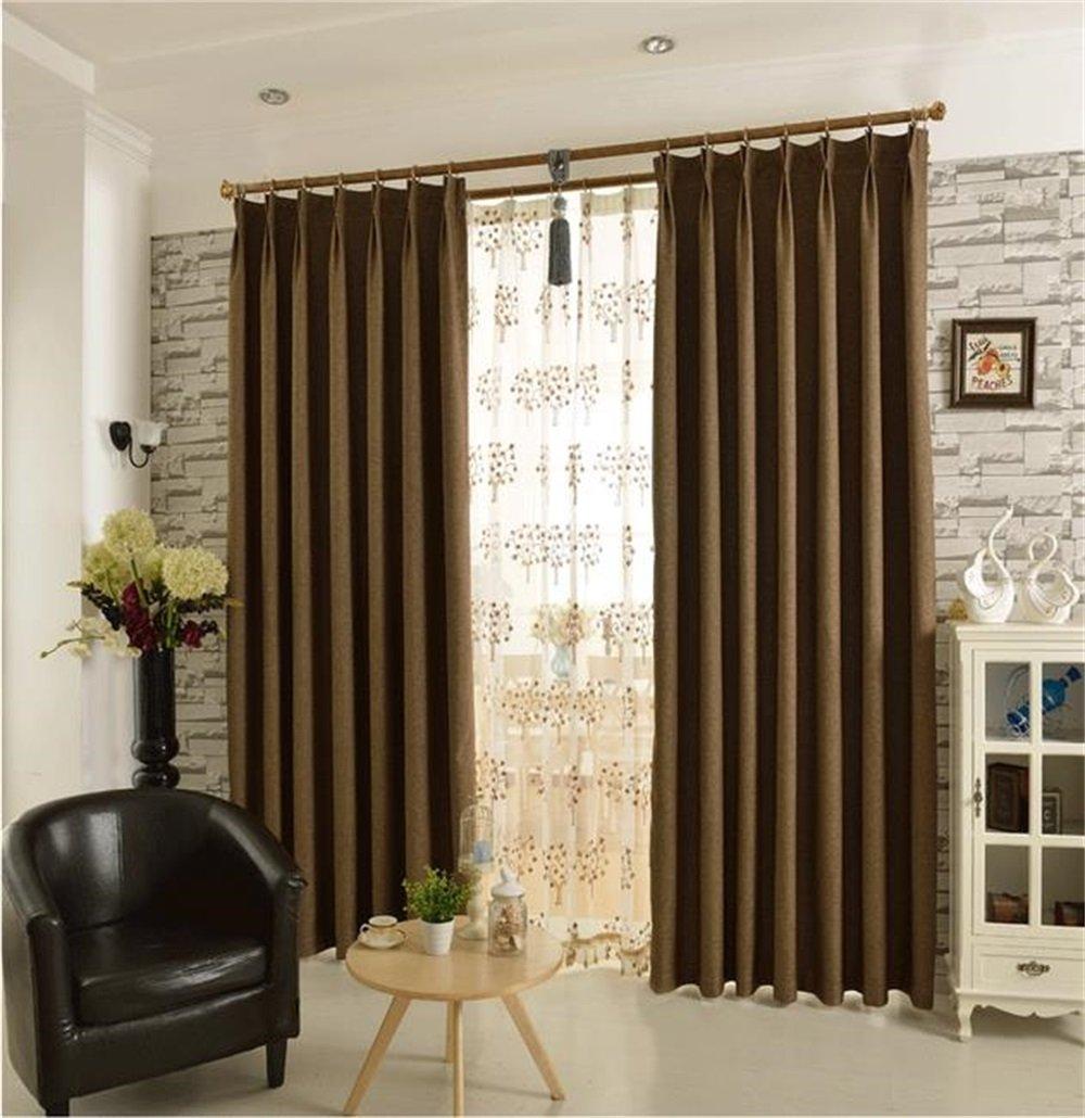 HOME UK- Ein Satz von 2 Stück Simple Imitation Hanf Voll Schattierung Vorhang Verdickung Wohnzimmer Schlafzimmer Fertigprodukte ( größe : 3.5*2.7m (width*height) )