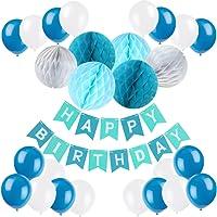 Recosis HAPPY BIRTHDAY Bannière Joyeux Anniversaire Guirlandes avec Ballons à Latex et Papier de Soie Boule Alvéolé pour Fête Anniversaire - Bleu