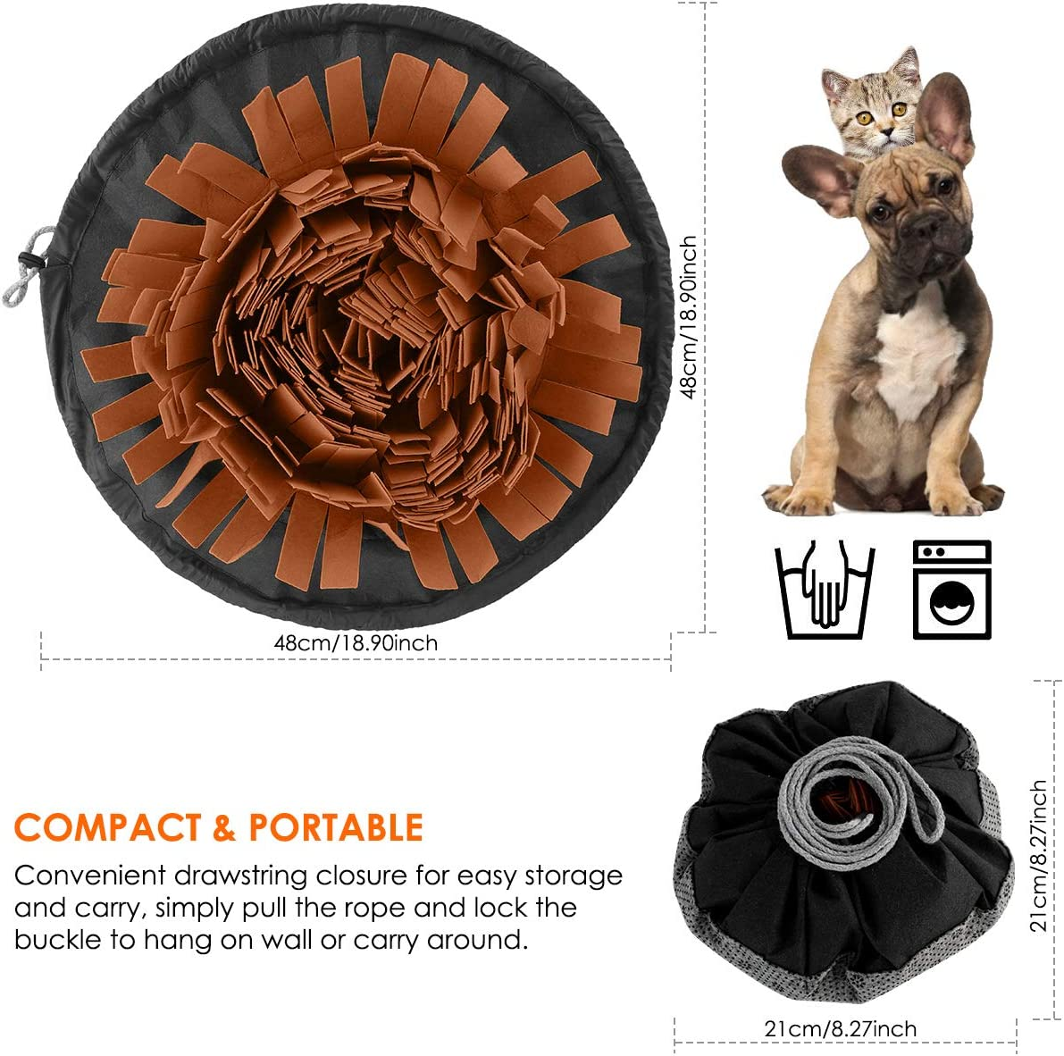 Pet Snuffle Mat Dog Slow Feeding Mat Washable Pet Puzzle Toys Durable Interactive Dog Toys Encourages Natural Foraging Skills for Small to Large Dogs Puppy