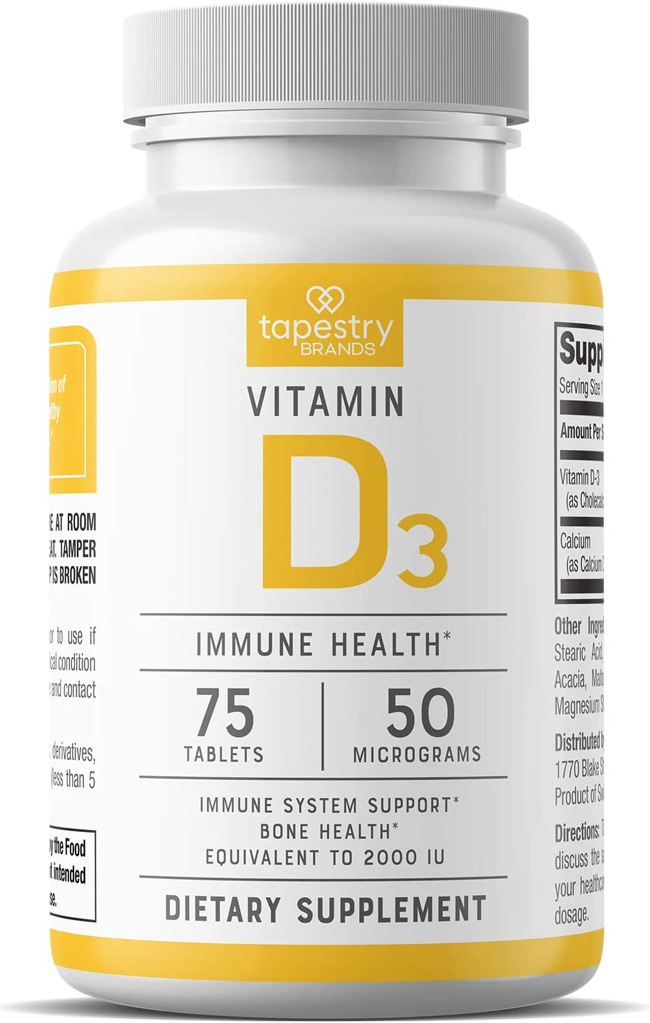 Vitamin D3 2,000 IU - Support Immune System Health, Promote Strong Bones. Non-GMO, Gluten Free, Lactose Free. 75 Count - 50 mcg (2000 IU) Tablets, by Tapestry Brands