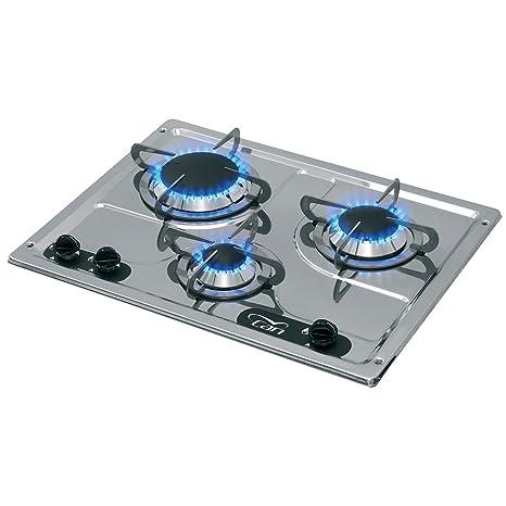 Piano Di Cottura Ad Incasso 3 Fuochi Gas Acciaio Inox Cucina Per
