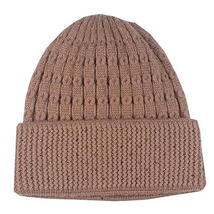 59385f2a156 Men Women Winter Skull Slouchy Caps Hat Warm Crochet Wool Knit Baggy Ski  Beanie (Khaki)  Musical Instruments