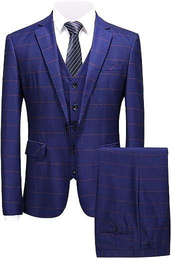 MOGU Mens Slim Fit 3 Piece Plaid Suits Windowpane Prom Party Tuxedo Set