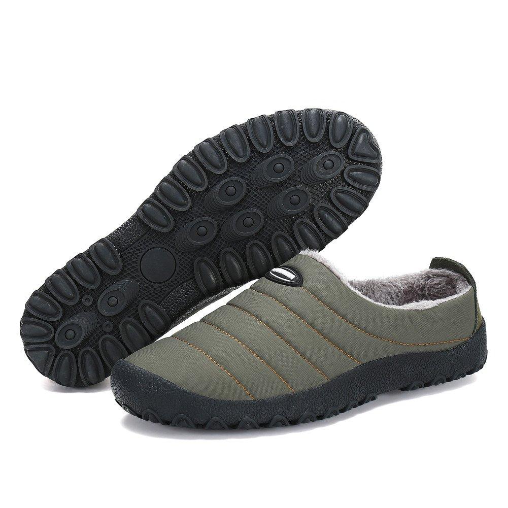 PENGCHNEG Men Women Waterproof Cotton Slippers Fur Lined Slip on Shoes for Snow Winter Outdoor Indoor (7.5 US Women/6 US Men=EU 38, Khaki)