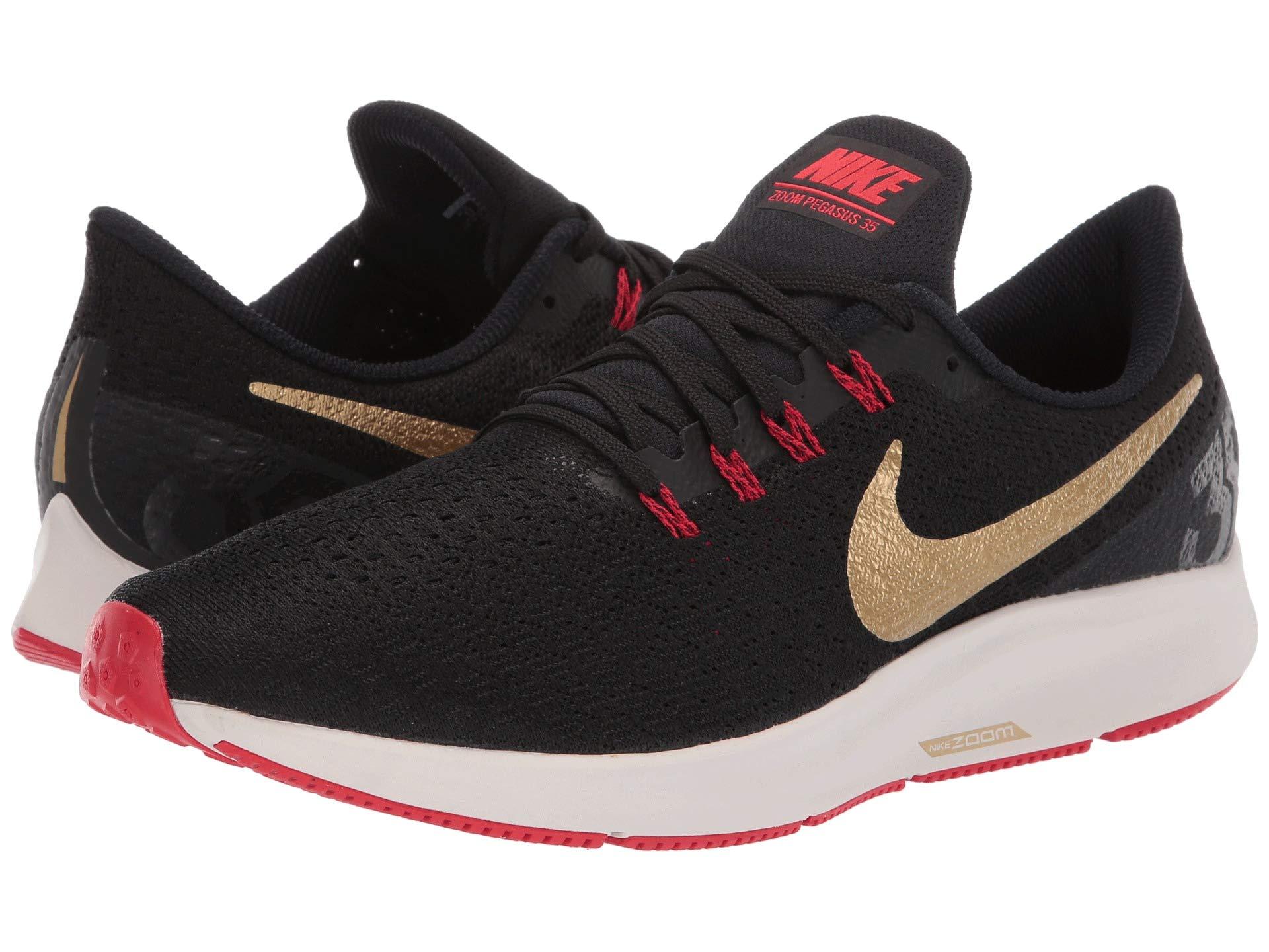Nike Air Zoom Pegasus 35 Sz 6.5 Mens Running Black/Metallic Gold-University Red Shoes by Nike (Image #7)