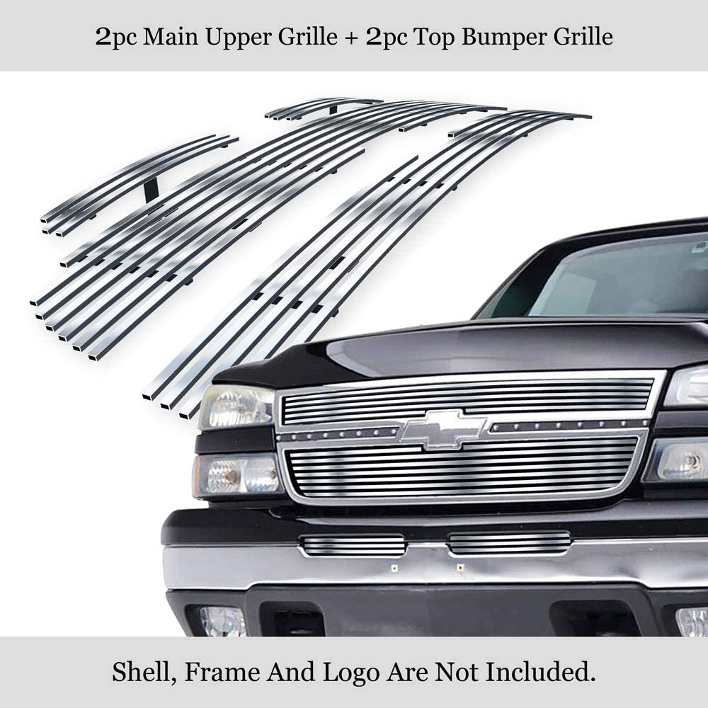 APS 304 Stainless Steel Billet Grille Grill Combo Compatible with 2007-2014 Chevy Suburban Avalanche N19-C91976C