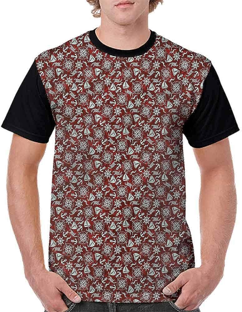 Performance T-Shirt,Seagull Anchor Rope Compass Fashion Personality Customization
