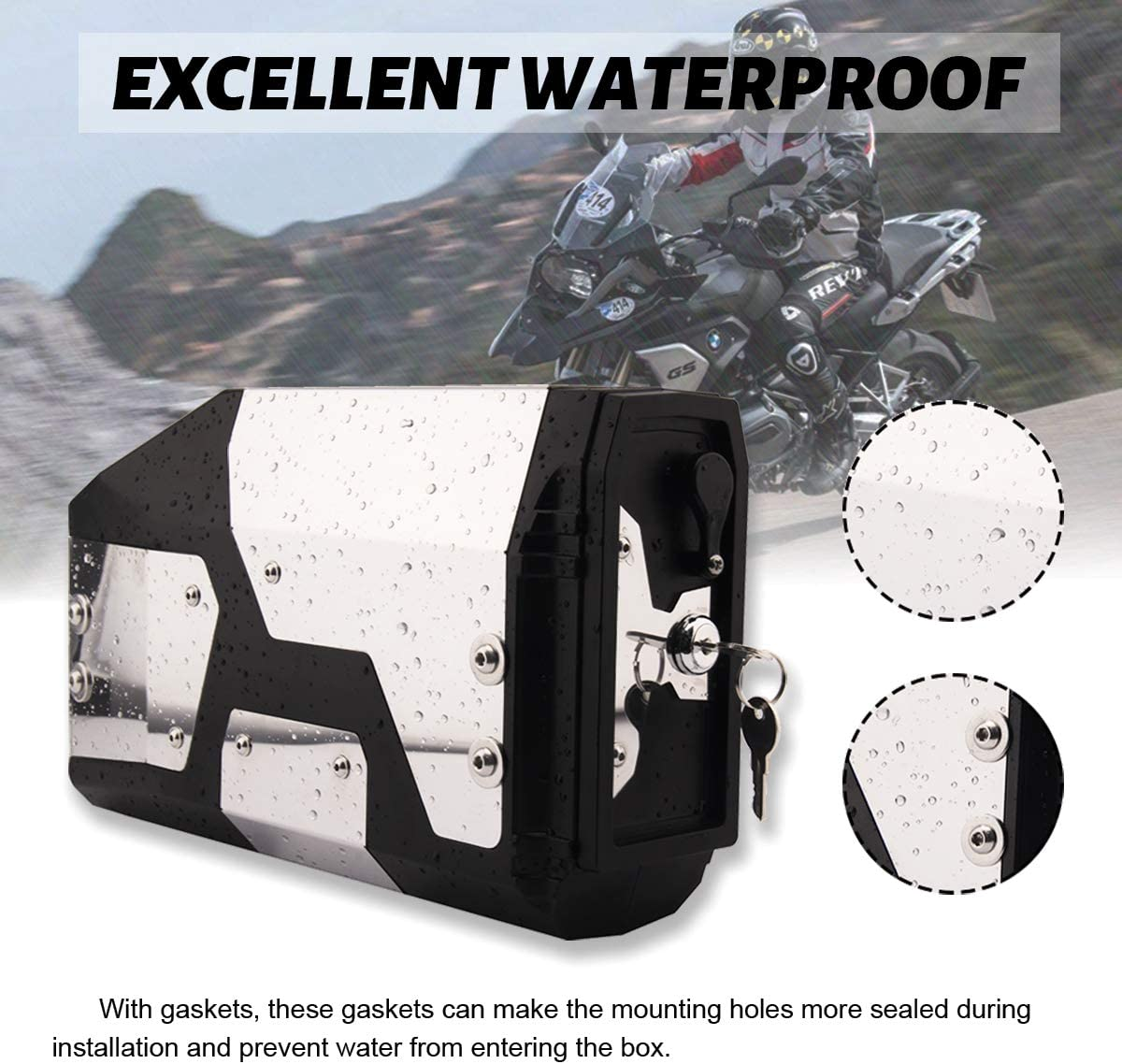 2002 2008 2018 2019 Motorcycle Side Box Stainless Steel Tool Box Water-proof Side Case for BMW R1200GS R1250GS LC Adventure /& F750 F850 BMW Motorcycle Accessories
