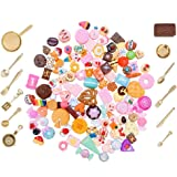 SIX VANKA Miniature Decor Dessert Pastry Cake 120pcs Mixed Tableware Kitchen Pretend Play Mini Food Set for Kids Dollhouse Cooking Birthday Party DIY Doll House Childrens Educational Toys
