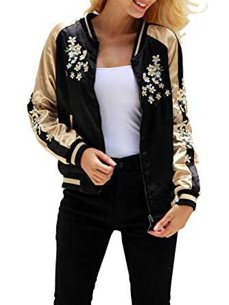 Simplee Women's Casual Floral Embroidery Reversible Satin Bomber Jacket,  Black, 4/6,