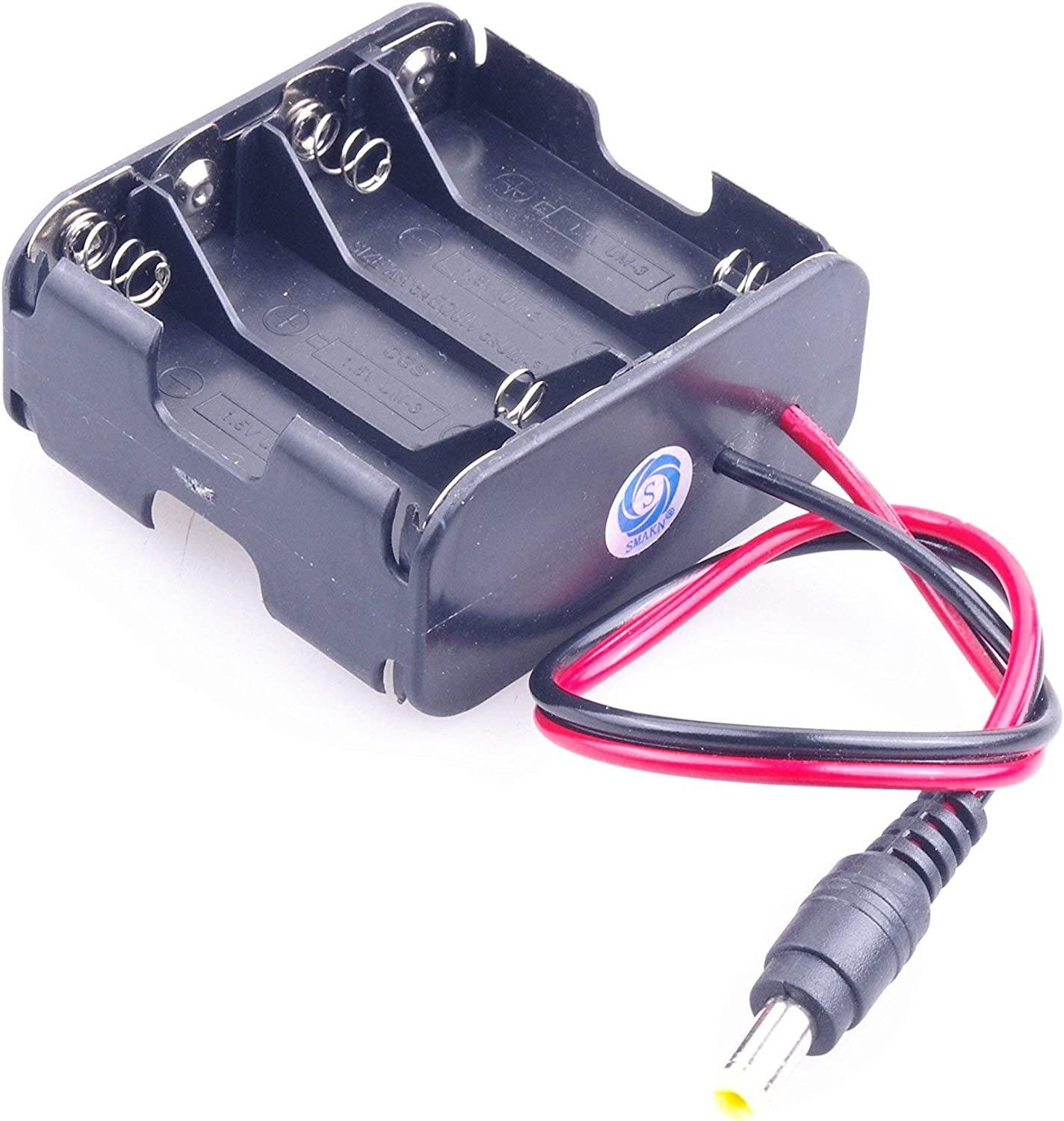 SMAKN 8PCS AA Battery 12V Clip Holder Box Case Black with DC