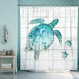 SUMGAR Blue Ocean Shower Curtain for Bathroom Coastal Beach Decoration Teal Sea Turtle Curtain Set with Hooks, 72 x 72…