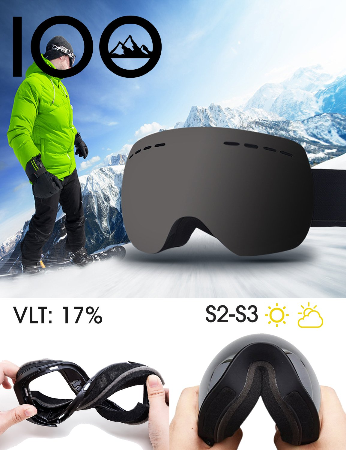 IOO Ski Goggles Over Glasses for Men Women Youth Frameless Anti-Fog Clear UV 400 Protection Snow Goggles Snowboarding Goggles Black