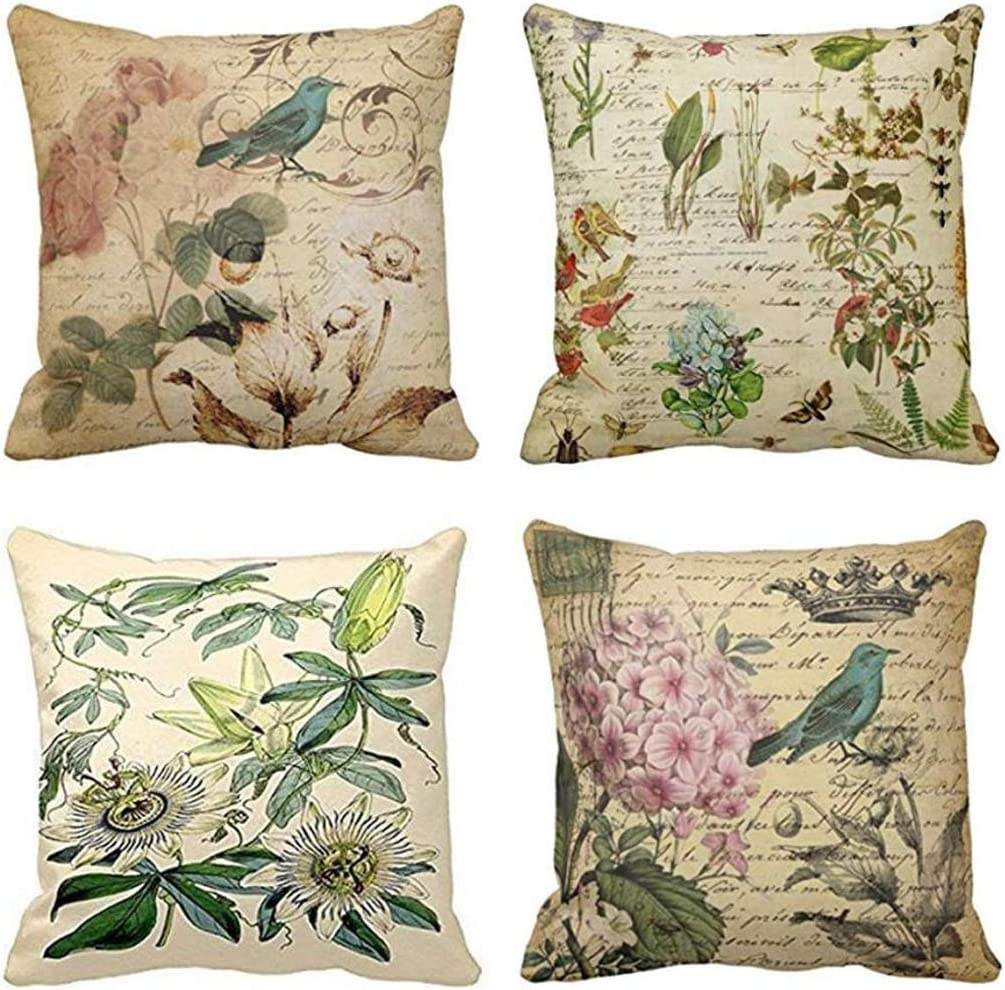 Jbralid Paris French Botanical Floral Victorian Bird Rose Gardens Green Flower Cotton Linen Indoor Decor Throw Pillow Cover Case Set of 4, 24x24 in