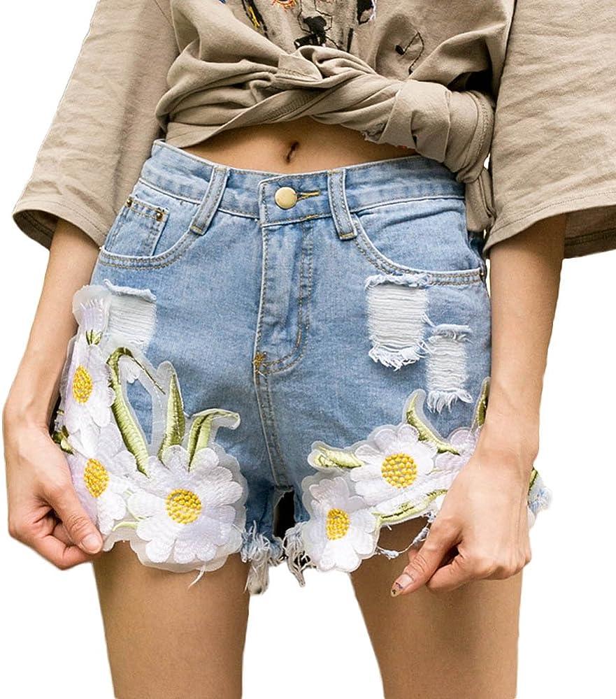 Pantalones Cortos De Mezclilla De Las Mujeres Rasgado Bordado