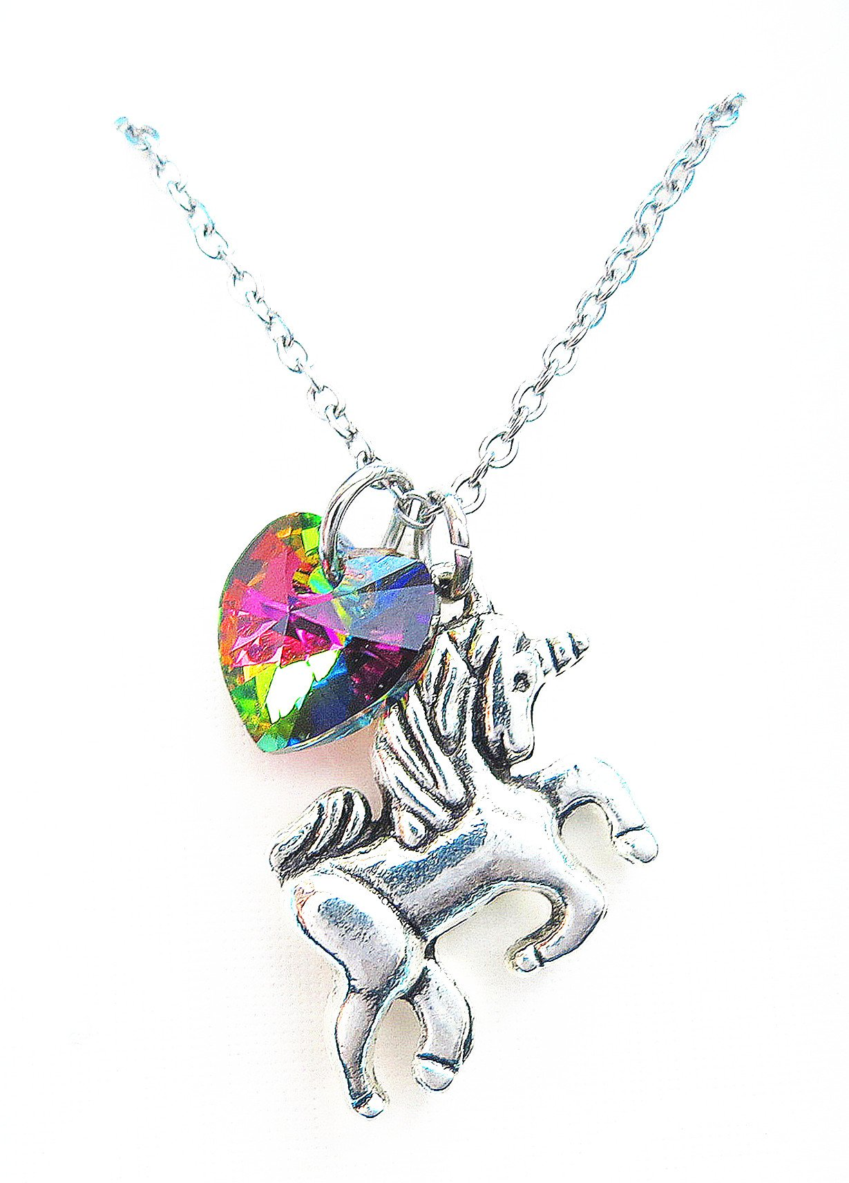 Girl Gift Unicorn Necklace with Rainbow Color Heart Crystal,Rainbow Unicorn Necklace,Fairy Tale Necklace, Fantasy Necklace, Animal Necklace 3