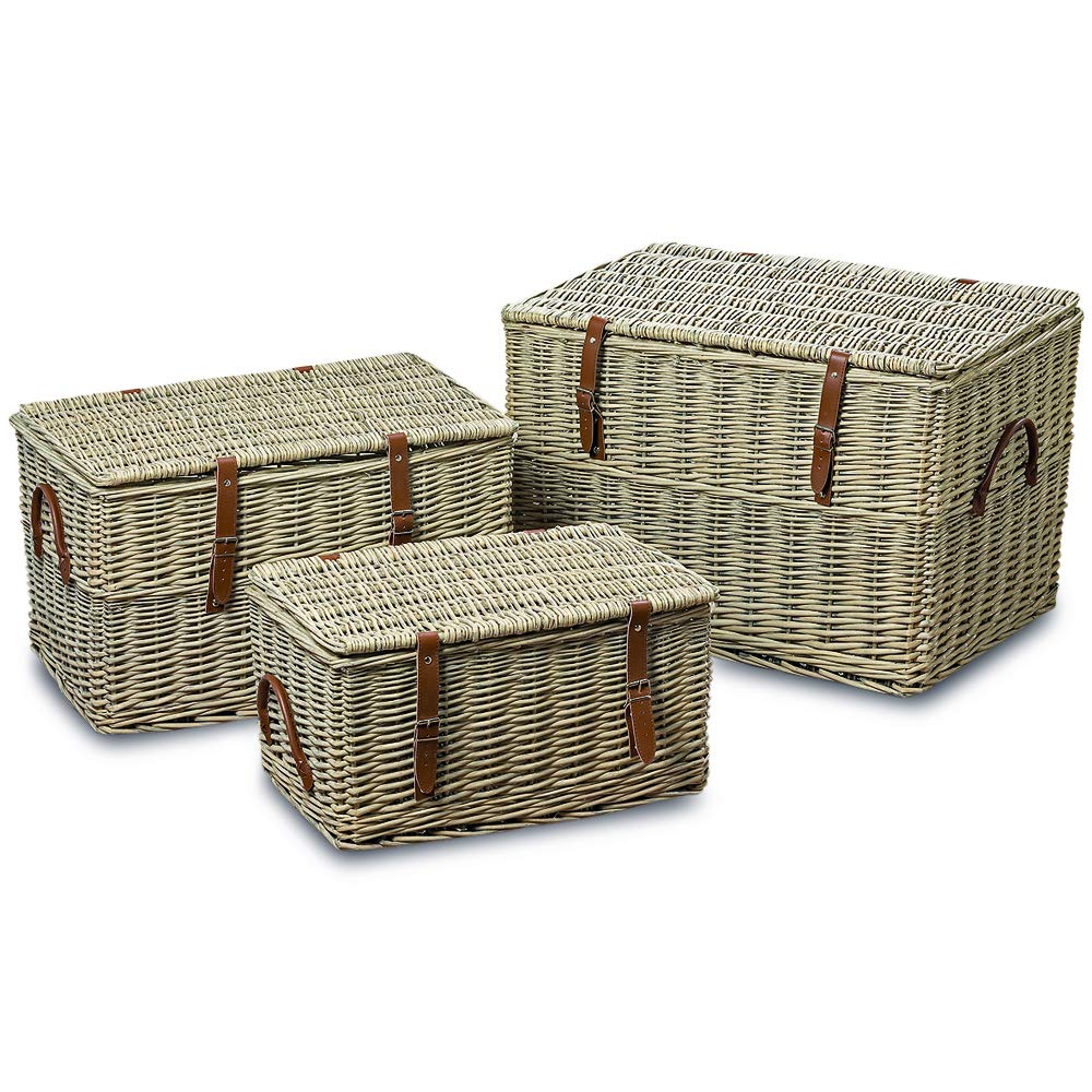 WHW Whole House Worlds Cape Cod Wicker Trunks, Set of 3, Woven Rattan, Faux Leather Straps and Handles, Storage and Blanket Chests, Various Sizes, Hinged Tops, Chunky Weave, Distressed White Willow