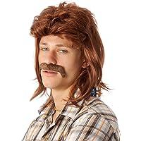 ALLAURA 80's Mullet Wig & Moustache Brown Costume Bogan Wigs Set Mens Mullets